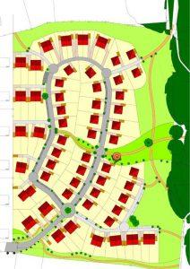 Städtebaulicher Entwurf der Geomantie-Siedlung in Dortmund Rahm