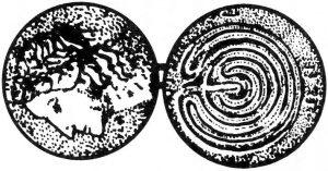 Darstellung des Kretischen Labyrinths auf einer griechischen Münze, ca. 431 bis 67 v. Chr.