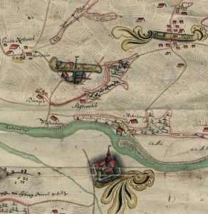 Die Stiepeler Mark in einer alten Landkarte aus 1783 mit Hervorhebung der Kirche, des Dorfes und des Haus Kemnade