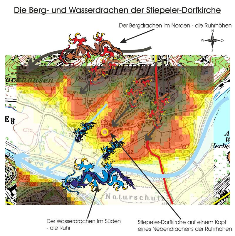 Darstellung der Höhenschichten und der Berg- und Wasserdrachen der Stiepeler Landschaft