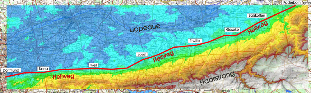 Höhenschichten der Hellwegregion zwischen Dortmund und Paderborn (80 – 450 m ü.NN)