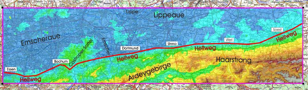 Höhenschichten des Hellwegs im Ruhrgebiet ab Essen bis Soest (80 – 350 m ü.NN)
