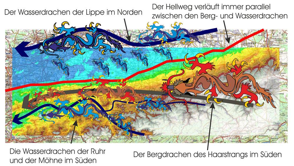 Die Berg- und Wasserdrachen der Landschaft der Hellwegregion zwischen Dortmund und Paderborn